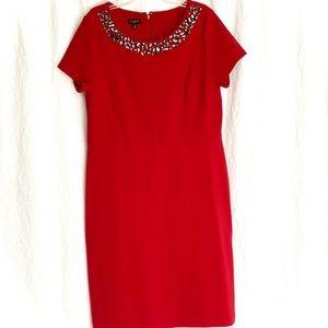 Red dress with jeweled neckline